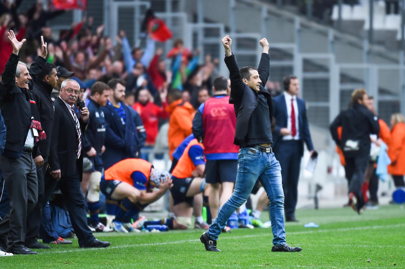 La joie de Mourad Boudjellal, en 1/2 finale face à Leinster, au Stade Vélodrome.