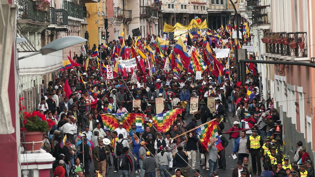 Manifestions contre la politique du président Correa en Équateur, le 15 août 2015.