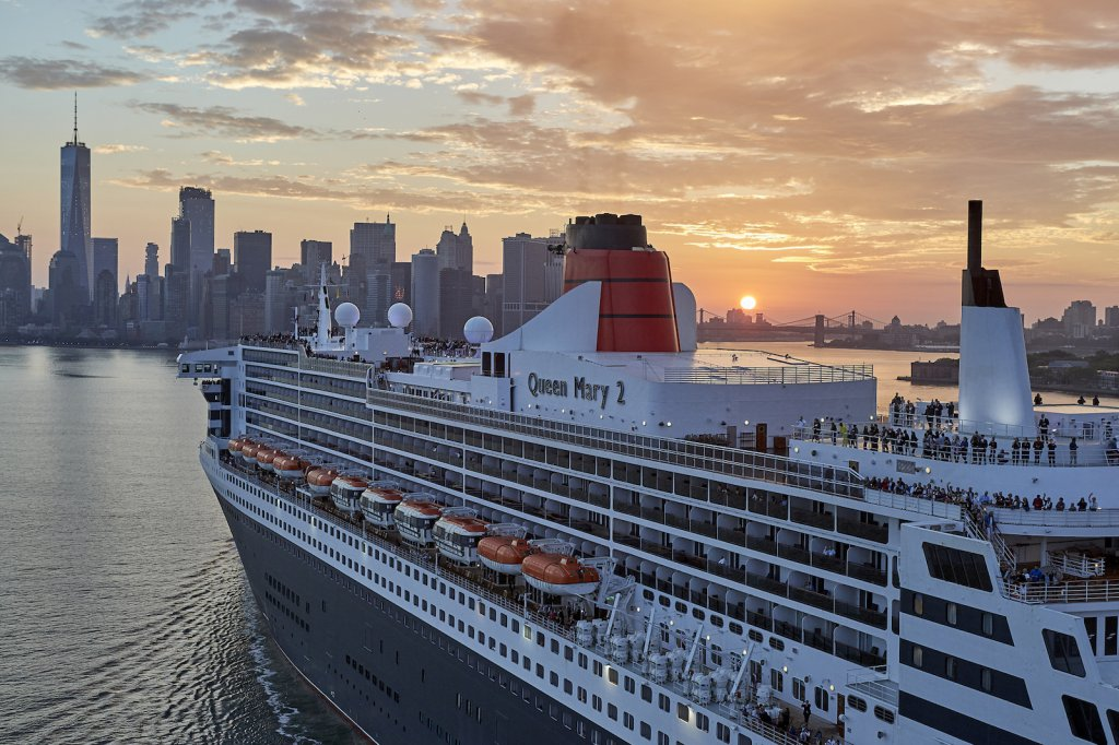 Le Queen Mary 2 arrive à New York, le 1er juillet dernier. © Th.Martinez