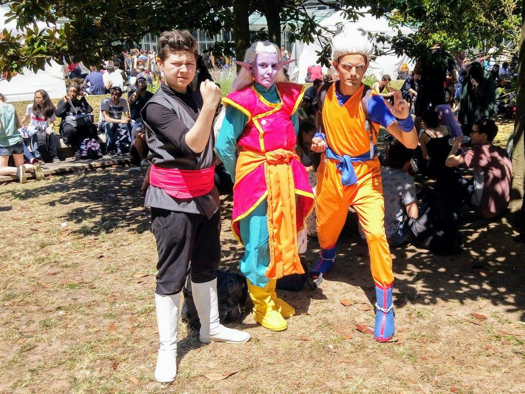 De gauche à droite : un cosplayeur, un cosplayeur et un cosplayeur.