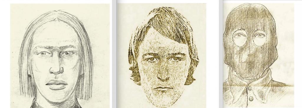 Les différents portraits-robots du Golden State Killer au fil des ans.